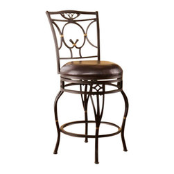Holly and Martin - Wayfield Swivel Counter Stool - Complement your home with beauty and convenience. Curved scrollwork, intricate details, and brass accents converge in this elegant counter stool.