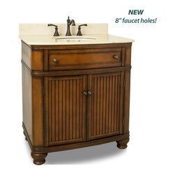 Hardware Resources - Compton Bath Elements Vanity 32 x 23 x 35 - This 32 inch wide MDF vanity has simple beadboard doors and curved shape to accent the traditional cottage feel. The Walnut finish is created by hand  making each vanity unique. A large cabinet  fully functional top drawer fitted around plumbing and interior pull out drawer  equipped with ball bearing slides  provide ample storage.  This vanity has a 2CM Cream marble top preassembled with an H8809WH (15 x 12) bowl  cut for 8 faucet spread  and corresponding 2CM x 4 tall backsplash.  Overall Measurements: 32 x 23 x 35 (measurements taken from the widest point) Finish: Painted Walnut Material: MDF Style: Traditional Coordinating Mirror(s): MIR029  MIR029 48  MIR029D 60 Bowl: H8809WH