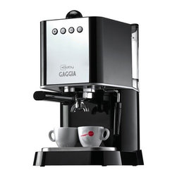 Gaggia - Gaggia New Baby Semi-Automatic Espresso Machine -Black - Removable 64-oz water reservoir. Chrome-plated marine brass 58mm commercial style portafilter for use with ground coffee or ESE coffee pods. Powerful, high-Watt boiler heats up in just a few minutes, Commercial brew group. Stainless steel Turbo Frother. Attachchment mounted on a ball joint. 3.5oz boiler with two external heating elements. 55 watt electric pump. Three-way solenoid valve. Rocker-switch control power, steaming and brewing. ESE Pod Ready. To make brewing easy, the New Baby is is ready to brew using ESE pods. These pre-package, pre-measured, and pre-tamped pods eliminate the need for a grinder or tamper. Just use the included ESE pod filter basket to brew.Includes: Instruction manual, coffee scoop, plastic tamper, and single, double, and ESE pod filter baskets. Dimensions: 15.7 H x 9.6 W x 10.4 D. 1-Year Warranty.