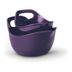 Rachael Ray - Rachael Ray Stoneware Mixing Bowls 2-piece Set: 1-quart and 2-quart, Purple - These attractive Rachael Ray mixing bowls feature a colorful design to better accent your decor and cookware. Dishwasher and oven-safe, these versatile stoneware bowls will be the perfect tool for preparing any number of meals and dishes.
