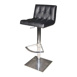 Nuevo Living - Preston Adjustable Stool, Black - This modern marvel is a triple threat of versatility, comfort and style. You can tailor the height within a 10-inch range and then really relax on the substantial foam seat and steel footrest. As to looks, it just doesn't get any cooler than polished steel and tufted Naugahyde.
