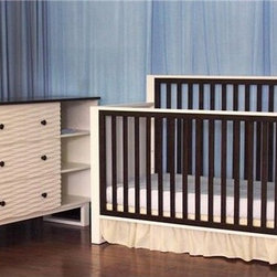 "Eden Baby Furniture - Moderno 4-in-1 Convertible Crib Set - Features: -Set includes Moderno 4-in-1 convertible crib and dresser. -Moderno collection. -White / Espresso finish. -Simple and modern convertible crib. -Two-tone color fits with any family-oriented design. -Side panel is engraved with waves for a unique look. -Crib can convert into a toddler bed, day bed, and full-size bed. -Toddler guard rail is included. -Dresser in simple and modern style with two-tone color that perfectly matches the crib as a set. -Three dresser drawers with dove-tail joints for added durability. -Dresser can be used as a changing table. Dimensions: -Dresser: 38.5"" H x 52"" W x 18"" D. -Crib: 80"" H x 57"" W x 29.5"" D, 85 lbs. Please Note: There is $50 restocking fee to return all Eden Baby Furniture products"