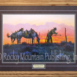 Rocky Mountain Publishing - Mending Fences Framed Western Art Print by Clark Kelley Price, 8x10 - Mending  Fences          Clark  Kelley  Price's  western  art  is  world-famous  and  Mending  Fences  is  a  great  example  of  the  vibrancy  of  his  work.  Featuring  cowboy  repairing  a  barbed  wire  fence,  the  print  shows  a  spectacular  western  sunset  giving  color  to  the  sagebrush-covered  plains.  Print  measures  8x10  and  is  framed  in  oak.  Matting  is  included.          Product  Specifications:                  8x10  print  (wood  frame  adds  several  inches  to  exterior  dimensions)              Artist  Clark  Kelley  Price              Wood  frame,  matting  and  glass  are  included              Made  in  the  USA