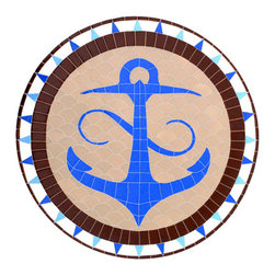 """Glass Tile Oasis - Anchor Medallion Pool Accents Blue Pool Glossy Ceramic - Sheet size:  36"""" x 36""""   Tile thickness:  1/4""""   Sheet Mount:  Mesh Backed   Sold by the piece   -"""