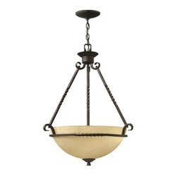 Hinkley Lighting - Hinkley Casa Olde Black Three-Light CFL Pendant Light - Casa makes the most of its fine details- individually unique antique scavo glass twisted wrought iron and hand-forged scrollwork in an Olde Black finish complete its rustic-chic appeal with a Southwestern flair.Under four generations of family leadership Hinkley Lighting has transformed from a small outdoor lantern company to a global brand intent on bringing you the best in style quality and value. LIFE AGLOW: That's their mantra and they take it seriously. By welcoming their products into your home they become part of your family's everyday life illuminating small moments and big occasions. They understand your home is so much more than a physical place. It's an emotional space designed by you so they are committed to keeping your 'Life Aglow' with stylish state-of-the-art lighting. Their products are the ultimate combination of style and substance. They are constantly developing new technologies to make their fixtures even more energy efficient. Hinkley recently upgraded their LED to cutting-edge high lumen output integrated solutions and they give you hundreds of energy-efficient styles to choose from. Even their Cleveland-based world headquarters employs high energy saving standards with low VOC materials and a variety of eco-smart applications into the design to make an earth-friendly work environment for their Hinkley family. Hand crafted fixtures luxe finishes artistic details and quality materials go into the design of every product they make. They embrace the philosophy that you can merge together the lighting furniture art and accessories you love into a beautiful environment that defines your own personal style.