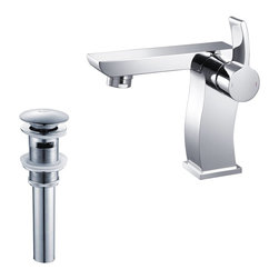 Kraus - Kraus Sonus Single Lever Basin Faucet and Pop Up Drain with Overflow Chrome - *At Kraus, we use various elements of design to impress and make a statement in order to turn your private space into a truly unique one