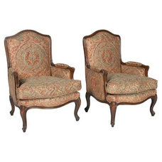 Contemporary Armchairs And Accent Chairs Pre-owned Louis XVI Chairs with Fortuny Style Fabric - Pair