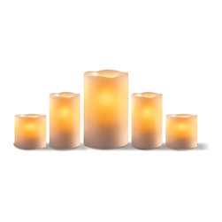 Sarah Peyton - Sarah Peyton 5-piece LED Candle Set with Timer - Set the mood with the Sarah Peyton 5-piece Candle Set with Timer. Featuring a soft ambient amber glow, these unique lights flicker and wane just like conventional candles. Made from real wax, they're nearly indistinguishable from traditional candles.