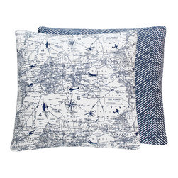 Chloe & Olive - World Map with Vintage Airplanes Throw Pillow, Blue, 18x18 - Elevate your child's air travel fascination with this stylish collection from Chloe & Olive.