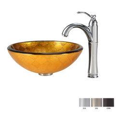 Kraus - Kraus Orion Glass Vessel Sink and Riviera Faucet Chrome - *Add a touch of elegance to your bathroom with a glass sink combo from Kraus