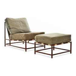 Stephen Kenn - The Inheritance Collection Chair + Ottoman - Composed of a steel welded frame with a marbled, rust brown finish, custom webbing belts, smooth leather straps and re-purposed WWII military fabric for the cushion covers.