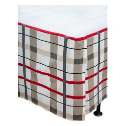 """Rizzy Home - Boys Punk Animal Stars Gray Twin Size Kids Bed Skirt - Rachel Kate Punk Rock Animals """"Boys"""" gray, red and white plaid tailored bed skirt really completes the look of the Punk Rock Animals Boys comforter set."""