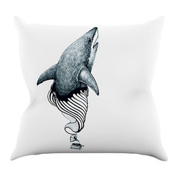 """Kess InHouse - Graham Curran """"Shark Record"""" Throw Pillow (20"""" x 20"""") - Rest among the art you love. Transform your hang out room into a hip gallery, that's also comfortable. With this pillow you can create an environment that reflects your unique style. It's amazing what a throw pillow can do to complete a room. (Kess InHouse is not responsible for pillow fighting that may occur as the result of creative stimulation)."""