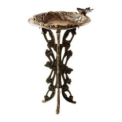 Oakland Living - Bird Bath Embellished w Butterflies & Dragonf - Finish: Antique PewterPictured in Antique Bronze. Cast aluminum bowl and cast Iron base. Easy assembly and sturdy construction. Hardened powder coat finish in antique pewter for years of beauty. Stainless steel / brass hardware
