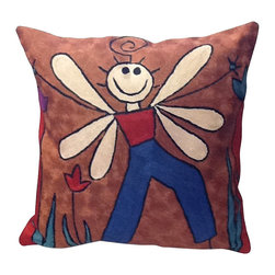 """""""Childlike"""" Contemporary Pillow - This pillow's playful design is a classic example of famous modern art that's playful and fun. Faithfully reproduced in gorgeous silk embroidery, the painting's joyous, childlike spirit is sure to uplift the mood in the room."""