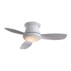 Minka Aire Fans - 52-Inch Hugger Ceiling Fan with Three Blades and Light Kit - F519-WH - Don't let low ceilings prevent you from bringing the comfort of a ceiling fan into your home. Three blades and an overall height of 11-1/2 inches make this Concept II hugger ceiling fan a compact, stylish addition. A full function hand held remote control regulates speed, light level and reverses blade direction. Includes a cap for non-light use. Takes (1) 100-watt halogen T4 bulb(s). Bulb(s) sold separately. Dry location rated.