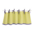 Cotton Tale Designs - Periwinkle Valance - A quality baby bedding set is essential in making your nursery warm and inviting. All Cotton Tale patterns are made using the finest quality materials and are uniquely designed to create an elegant and sophisticated nursery. The Periwinkle valance is 100 % cotton lattice with periwinkle and green dot ties, measures 50 x 17. A versatile and perfect finish for the nursery windows. Wash gentle cycle, cold water, separately. Tumble dry low or hang dry. Perfect for a little girls nursery.