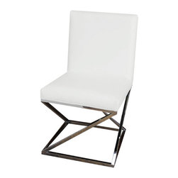 """Pangea Home - Collette Side Chair (Set of 2) - Set of 2 metal frame dining chairs with faux leather; criss cross X-legs high polished. Features: -Upholstery material: Faux leather. -High polished metal legs. Dimensions: -36"""" H x 25"""" W x 20"""" D, 38 lbs."""