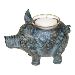 Sterling Industries - Sterling Industries 87-1804 Sterling Little Pig Votive Candle Holder - One Of The Most Beloved Farm Animals Is The Pig. A Highly Intelligent And Adorable Creature, Decorative Pig Accessories Have Become Highly Collectible. The Little Pig Votive Candle Holder By Sterling Will Surely Become A Collector'S Favorite Bringing Accent Light And A Touch Of Whimsy To The Decor. The Pig Votive Will Add A Decorative Accent On The Table And Will Illuminate A Special Place In The Home With Warm, Flickering Candlelight. Painted In A Mottled Green And Black That Resembles A Patina Effect On Aged Copper. Pig Measures 6.5 Inches Long X 3 Inches Wide X 4 Inches Tall.  Candle Holder (1)