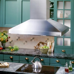 Broan 40W in. Island Range Hood - If you love to cook, then theBroan 40W in. Island Range Hood is for you. The power of this sleek hood is as unbelievable as its lovely style. With a 900 CFM dual centrifugal blower, you know that you will have superior ventilation every single time you cook. Its concealed three-speed control makes it simple to adjust and find the right level of ventilation for whatever you may be preparing. A similar style button activates four halogen lamps that offer additional light for your cook-top. UL Listed and HVI Certified, this unit is equipped with Heat Sentry™. Thanks to this feature you can confidently try those new dishes because if it detects excessive heat it will automatically shift to the highest speed setting preventing the onset of unwanted cooking smoke and odors. This feature also helps prolong the life of the unit.The unit installs as as 8-in. round with the telescopic flue accommodating 8-ft. to 9-ft. tall ceilings. Flue extensions are available for higher ceilings. To keep your kitchen fresh and your hood performing at its best, simply toss its aluminum filter in the dishwasher.About Broan-NuTone Ventilation:Broan-NuTone has been leading the industry since 1932 in producing innovative ventilation products and built-in convenience products, all backed by superior customer service. Today, they're headquartered in Hartford, Wisconsin, employing more than 3200 people in eight countries. They've become North America's largest producer of residential ventilation products and the industry leader for range hoods, ventilation fans, and heater/fan/light combination units. They are proud that more than 80 percent of their products sold in the United States are designed and manufactured in the U.S., with U.S. and imported parts. Broan-NuTone is dedicated to providing revolutionary products to improve the indoor environment of your home, in ways that also help preserve the outdoor environment.