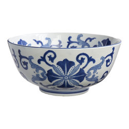 Blue and White Flourish Bowl - This porcleain bowl is reminiscent of the blue and white china patterns common during the Ming Dynasty in China. Food safe.