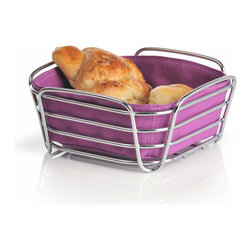 Blomus - Delara Bread Basket, Purple, Large - The Blomus Delara Bread Basket is made with chrome-plated steel and cotton fabric insert.