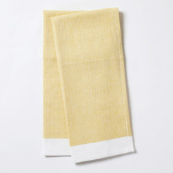 """Coyuchi - Coyuchi Diamond Chambray Sunflower Kitchen Towel Set of 2 - The Coyuchi chambray kitchen towel set's organic cotton fabric complements interiors with earthy allure. Featuring diamond texture and white trim, these absorbent accessories excite in sunflower yellow. 16""""W x 24""""H; Set of two; 100% organic cotton; Due to handmade quality, slight variations in fabric may occur; Machine washable"""