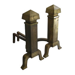 Consigned - Vintage Neoclassical Brass Andirons, Pair - Pair of vintage, neoclassical-style andirons with an architectural flair.  Nicely sized and proportioned.  Equally at home in traditional, transitional, or modern decor.