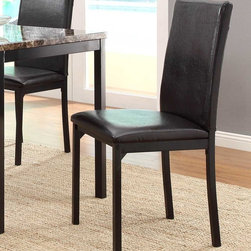 Homelegance - Homelegance Tempe Side Chair in Dark Brown Bi-Cast Vinyl - With a scale appropriate for any number of smaller dining spaces, the Tempe Collection will provide the look and style you want in your home. The transitional feel of the group comes from the richly hued faux marble table top and the minimalistic design of the dark brown bi-cast vinyl chairs. The table and chair are constructed of metal in black finish. - 2601S.  Product features: Transitional styling ; Dark brown bi-cast vinyl upholstery ; Constructed of metal in black finish. Product includes: Side Chair (1). Side Chair in Dark Brown Bi-Cast Vinyl belongs to Tempe Collection by Homelegance.