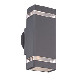 "Possini Euro Design - Possini Euro Rectangular Graphite Up/Down Outdoor Wall Light - Sleek styling and a graphite finish give this outdoor wall light from Possini Euro Design a contemporary feel. The rectangular design includes clear glass inserts that allow accents of light out the sides and bulbs in the top and bottom direct light up and down.  Die-cast aluminum construction.  Graphite finish.  Clear glass inserts.  Includes two 35 watt GU10 halogen bulbs.  10 1/2"" high.   4 1/2"" wide.   Extends 4 1/4"" from the wall."