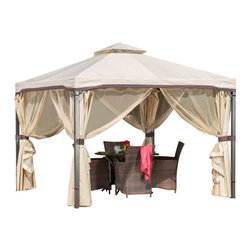 Great Deal Furniture - Sonoma Outdoor Gazebo Canopy w/ Beige Net Drapery - The Sonoma Gazebo adds a functional touch to any outdoor living space. The polyester covering offers the perfect shade solution while maintaining a clean feel. The steel frame of the gazebo is durable and comes with adjustable netting to enclose the gazebo for added shade or nighttime protection from the elements. This is the perfect piece for anything from relaxing in solace to entertaining guests.