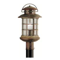 Kichler 1-Light Outdoor Fixture - Rustic Exterior - One Light Outdoor Fixture. If you are looking for a new interpretation of traditional design elements, the Rustic collection is for you. This outdoor lighting line captures the look and feel of a classic, aged lantern, yet updates it for modern homes. Our rustic finish over the solid brass frame offers you the high quality construction and materials with an affordable price Kichler is synonymous for. Clear beveled glass panels complete the Rustic collection's unique lantern look making it a fantastic value for almost any home. This one light, rustic post lantern uses a 150-watt bulb and measures 18 high. It is UL listed for wet locations. Post not included.