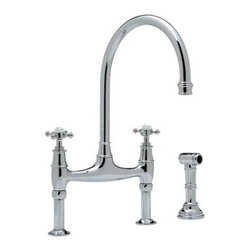 Rohl Perrin & Rowe U.4718X-2 Double Handle Kitchen Faucet with Side Spray - Keep it clean with the sleek streamlined Rohl Perrin & Rowe U.4718X-2 Double Handle Kitchen Faucet with Side Spray. Crafted with durable solid brass this fixture is designed for installation with three faucet holes and ¼-turn ceramic disc valves. Dual cross-style knobs control a steady 1.8 gallon per minute flow and the high-arched swivel spout provides clearance for large pots and pans. A coordinating insulated sidespray blasts baked-on food and debris from dishes. Choose English bronze polished chrome polished nickel or satin nickel. Deck-mounted-only unions included. Limited lifetime warranty included. Product Specifications Mount type: Deck mount Handle style: Knob Valve type: ¼-turn ceramic disc Flow rate: 1.8 gallons per minute Spout height: 10.87 inches Spout reach: 9 inches About RohlNamed for the family that founded it in 1983 Rohl is anchored in a tradition of family values trust integrity and innovation. Since starting with its original pullout faucet Rohl has continually expanded its product line which now includes a variety of high-quality classically differentiated faucets and fixtures. Each is crafted to Rohl's specifications for the home hotel or resort.