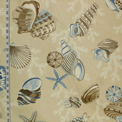Seashell Fabric StarFish Sea Stars Coral Funky Brown Blue, Standard Cut - A seashell fabric with starfish, sea stars, and coral! A rather funky seashell fabric done in calm neutral tones.