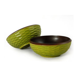 Enrico - Enrico Avocado Mango Wood Side Salad Bowls, Set of 2 - Each item in the Acacia Honeycomb natural grouping features an enigmatic and tactile honeycomb texture carved into the outer surface and a smooth interior. These products are all hand-carved and finished solid acacia, so each piece reflects the variations natural to handmade items. All items are finished in a food-safe lacquer. We recommend hand washing and drying for all items.
