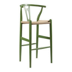 "Wholesale Interiors - Mid-Century Modern Wishbone Stool and Green Wood Y Stool - This mid-century bar chair features traditional wood construction paired with a modern form, resulting in a unique piece for your home. The frame consists of solid wood with a green finish, a curved backrest, and sturdy, taut unfinished natural hemp cord seat. This item will arrive fully assembled and is also available in green or as a dining chair in natural, dark brown, pink, green, black, or white (each sold separately). This is a quality reproduction of the Hans Wegner Wishbone Chair, which is also known as the Wegner Y Chair, Carl Hansen Wishbone Chair, CH24 Wishbone Chair, and the Wegner CH24. Seat Dimensions: 28.5"" H x 17"" W x 15"" D. Overall Dimensions: 40.75"" H x 19.5"" W x 18"" D."