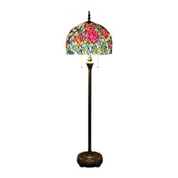 Stained Glass Dome Shade Roses Tiffany Style Floor Lamp - Stained Glass Dome Shade Roses Tiffany Style Floor Lamp