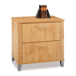 Bush - Bush Somerset 2-Drawer Wood Lateral File Storage Cabinet in Maple - Bush - Filing Cabinets - WC81480 - With its warm and appealing Maple Cross finish, the Bush Somerset Filing Cabinet lends a naturalistic look to your home office. This luxury file cabinet features a rustic flair with all the conveniences of the ultra-modern, and is guaranteed to brighten up your home.