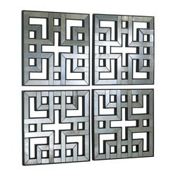 Kathy Kuo Home - Set of 4 Akari Contemporary Lattice Mirrored Wall Panels - These mirrored panels make a distinctive, modern statement which draws references from classic Asian style and the signature wall treatments of  designers like David Hicks. Antique mirrored finish creates a subdued reflective effect.