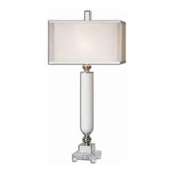 Uttermost - Atilius White Table Lamp - Gloss white glass with a spiral texture accented with polished nickel plated details and a crystal foot. The double shade is a sheer outer hardback with a white linen inner hardback.