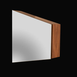 Prisma Suite - Sophisticated and yet informal, the Prisma vanity features angles and clean lines that provide a modern, urban look. Wall-mounted medicine cabinet with one adjustable shelf and angular mirrored doors.