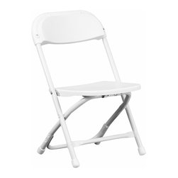 Flash Furniture - Flash Furniture Kids White Plastic Folding Chair - Y-KID-WH-GG - Provide kids with seating that was specifically designed for them and can be stored away when no longer in use. This plastic folding chair will make an exciting addition to any classroom, daycare center or in the home. The lightweight design makes it ideal for the child to easily transport and setup for group activities, reading and other learning groupings. [Y-KID-WH-GG]