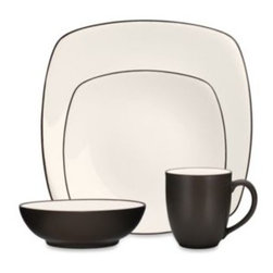 Noritake - Noritake Colorwave Chocolate Square 4-Piece Place Setting - A splash of color can create a wave of excitement at the dinner table. Ultra-modern stoneware with square-shaped dinner and salad plates sports a matte glaze exterior and a creamy interior.
