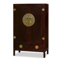 """China Furniture and Arts - Elmwood Ming Style TV Armoire - Designed in the Ming Dynasty (1368-1644) furniture style, the inside of this cabinet is altered specifically for the storage of contemporary mixed media. The polished cast-brass pull and decorative hinges are symmetrically arranged to reflect the Chinese ideal of unity. Large enough to contain most family-sized televisions with dimensions of 37.5""""Wx18.5""""Dx36""""H and outlet in the back for wires to go through. Two removable shelves (11.5""""H each) and a stand (6""""H) inside for your storage convenience. One large drawer below provides additional storage space. Completely hand made of Elmwood for long lasting durability. Hand-applied dark cherry finish."""