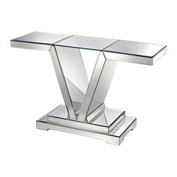 Lazy Susan - Lazy Susan 114174 Mirrored Console Table with Clear Glass Top - The sleek shiny surfaces of this mirrored console are angled to create drama. Light is captured and reflected from all surfaces creating brightness and the illusion of space. The top is clear glass creating an interesting visual illusion which the imagination when viewed from the top. The console is mirrored on both sides making it suitable for use in the center of a room as well as against a wall.