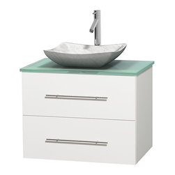 """Wyndham Collection - Centra 30"""" White Single Vanity, Green Glass Top,Avalon White Carrera Marble Sink - Simplicity and elegance combine in the perfect lines of the Centra vanity by the Wyndham Collection. If cutting-edge contemporary design is your style then the Centra vanity is for you - modern, chic and built to last a lifetime. Available with green glass, pure white man-made stone, ivory marble or white carrera marble counters, with stunning vessel or undermount sink(s) and matching mirror(s). Featuring soft close door hinges, drawer glides, and meticulously finished with brushed chrome hardware. The attention to detail on this beautiful vanity is second to none."""