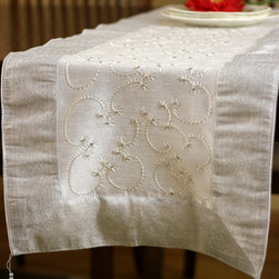 "Elegant Table Runners - Pure ""Snow White"" Table Runner. Embroidered by hand in India. Dupion fabric. Perfect decor idea to embellish your room."