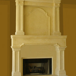 """Lisa Cast Stone Fireplace Mantel - """"French Limestone"""" cast stone Fireplace Mantel. Cast smooth to simulate a honed limestone. Cast stone mantel sits upon a raised hearthstone platform skirted with cast stone panels."""
