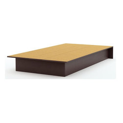 South Shore - Twin Platform Bed in Chocolate Brown - Manufactured from eco-friendly, EPP-compliant laminated particle boardcarrying the Forest Stewardship Council (FSC) certification. Contemporary design. Assembly Required. 74.75 in. L x 40 in. W x 8.25 in. H
