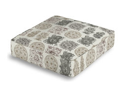 Paisley Block Print Box Floor Pillow - Extra seating that is so good looking you won't want to store it away.  Our Box Floor Pillow is perfect for your next coffee table dinner party, fire place snuggle session, or playroom sleepover.  We love it in this modern, yet eclectic blockprint paisley grid in black, browns & metallic gold on cream cotton.